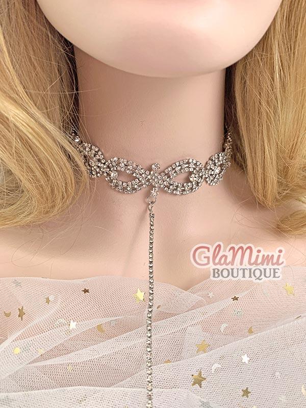 Aria Rhinestone Necklace Silver 1