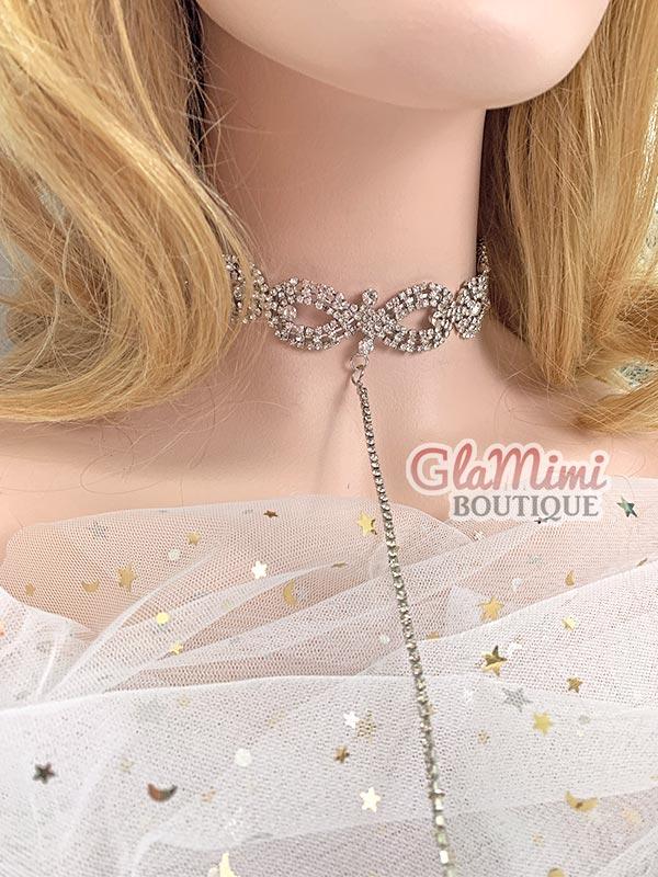 Aria Rhinestone Necklace Silver 2