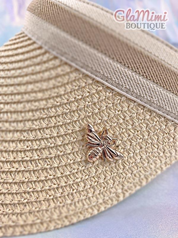Bee Straw Visor Hat Beige 2