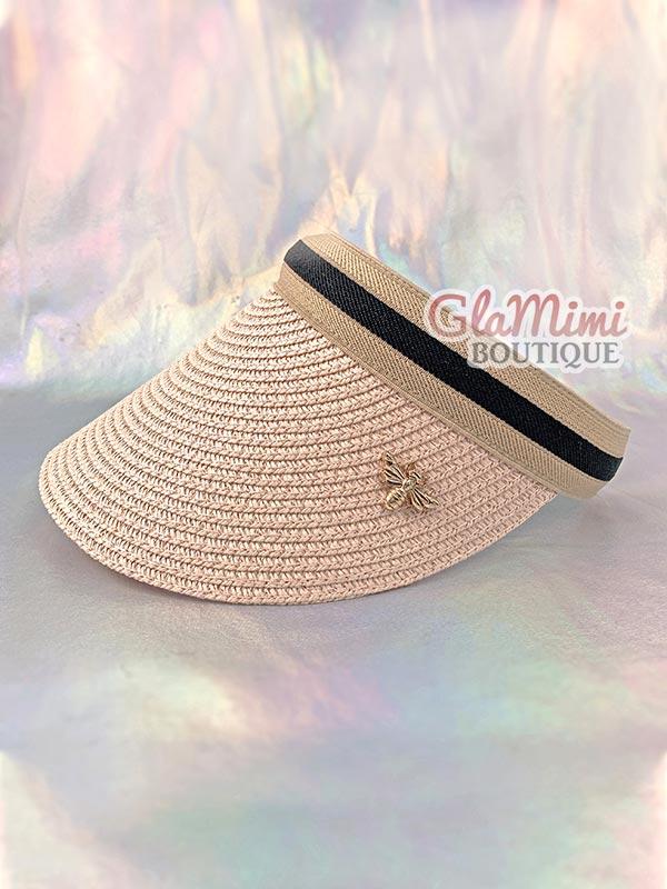 Bee Straw Visor Hat Pink 1