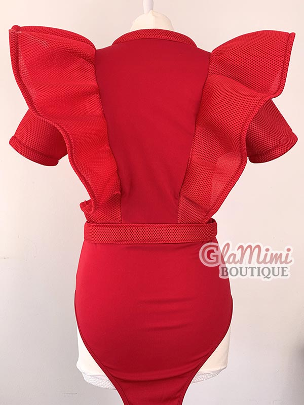 Bella Ruffle Bodysuit Red 2