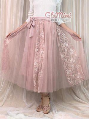 Flora Maxi Tulle Skirt Pink 1