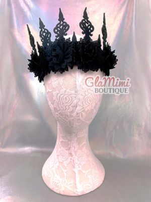 Black Flower Fairy Gothic Crown 1