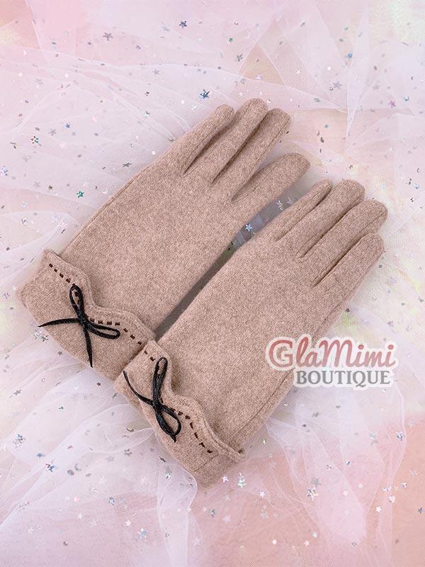 Bow Wool Gloves Beige 1