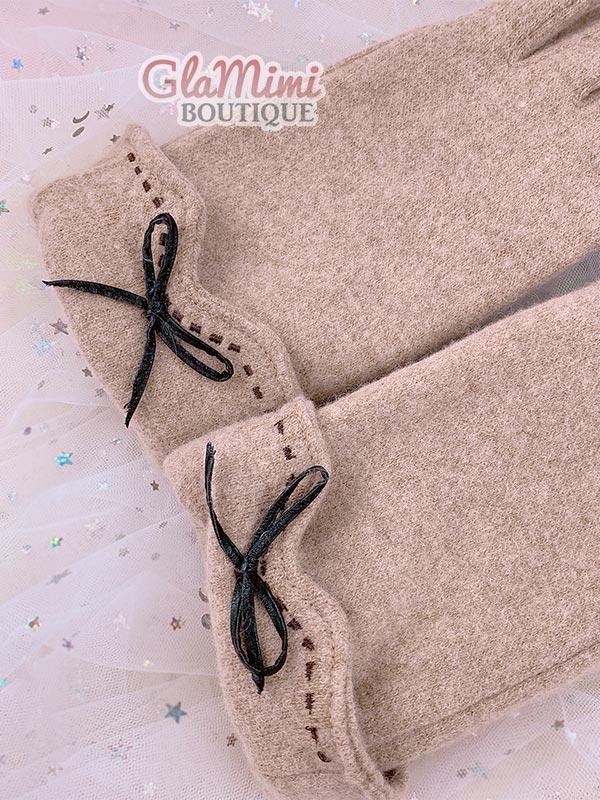 Bow Wool Gloves Beige 2