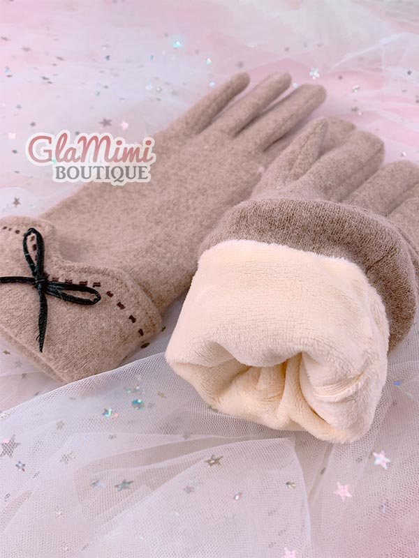 Bow Wool Gloves Beige 3