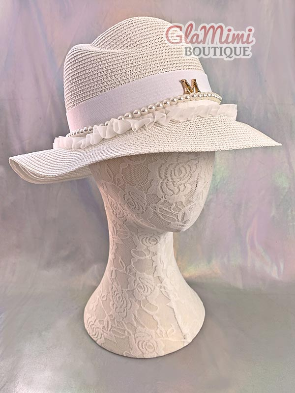 Ruffle Fedora Straw Hat White 1