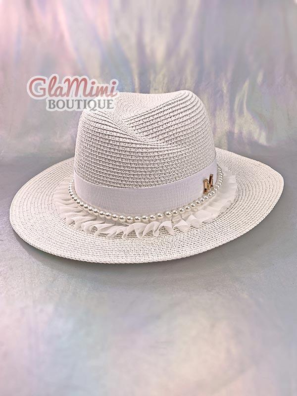 Ruffle Fedora Straw Hat White 2