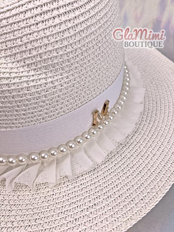 Ruffle Fedora Straw Hat White 3