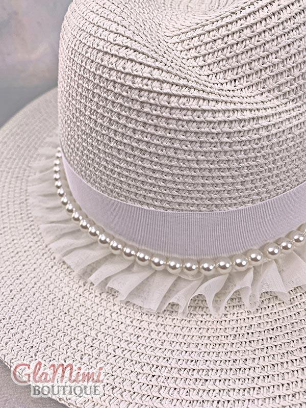 Ruffle Fedora Straw Hat White 4