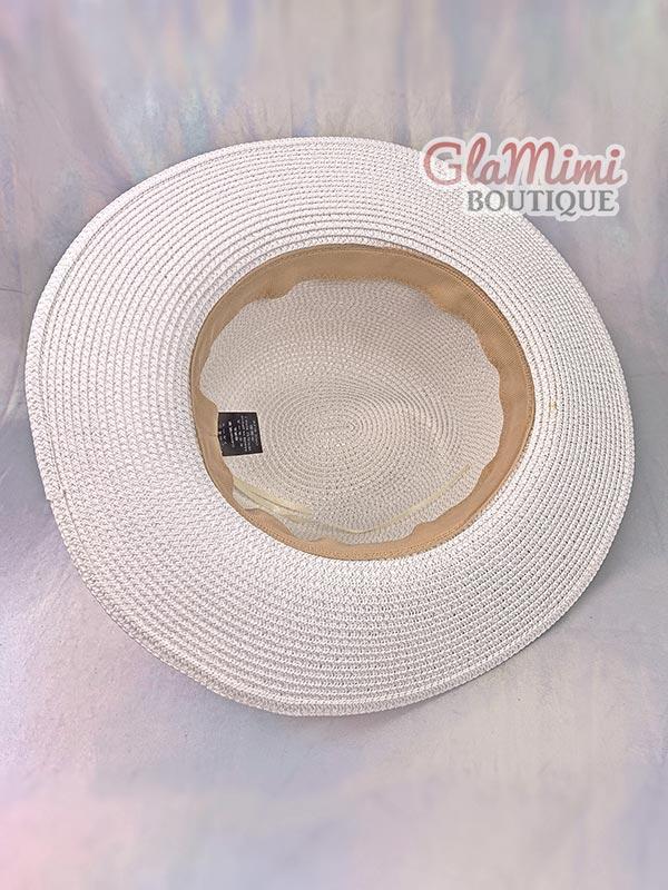 Ruffle Fedora Straw Hat White 5