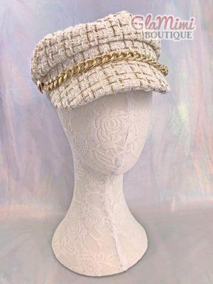 Tweed Beret Chain Hat 1