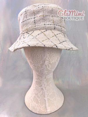 Tweed Bucket Hat White 1